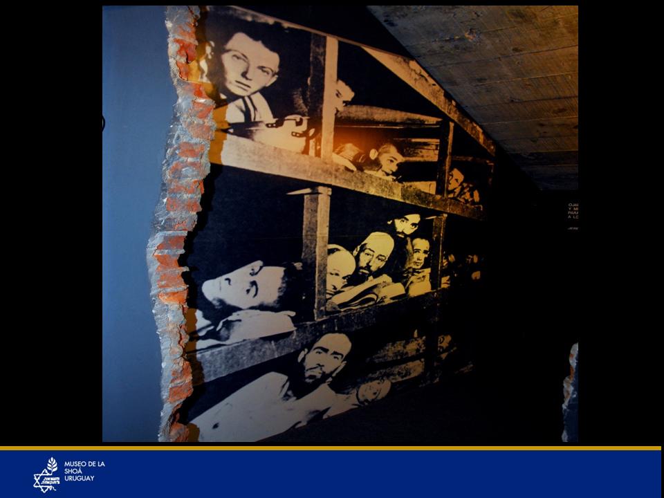 Foto ampliada de la imagen anterior de Elie Wiesel. Esta foto está emplazada en un hueco que adrede no quedó terminado. Los ladrillos están toscamente a la vista y para ver esta foto ampliada hay que introducirse en este hueco que nos encierra, que nos da la sensación de opresión. Parece que el Museo tuviera una herida.