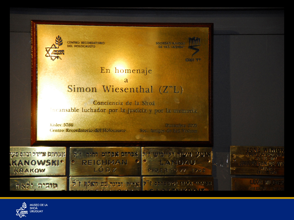 Plaqueta homenaje a Simón Wiesenthal (Z