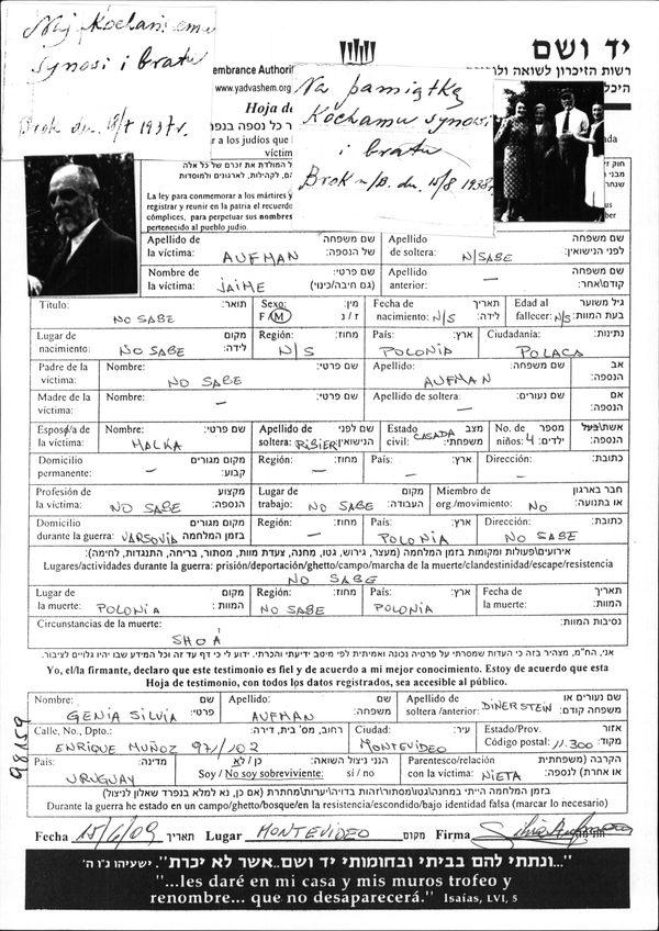 Aufman Jaime | Centro Recordatorio del Holocausto